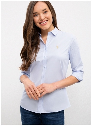 U.S. Polo Assn. U.S. Polo Assn. Slim Fit Açık Mavi Gömlek Mavi